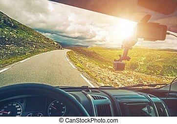 scénique, camping car, voyage route