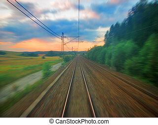 scénique, chemin fer, coucher soleil