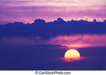 scénique, coucher soleil