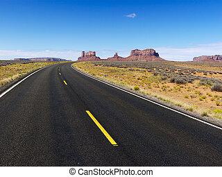 scénique, désert, road.