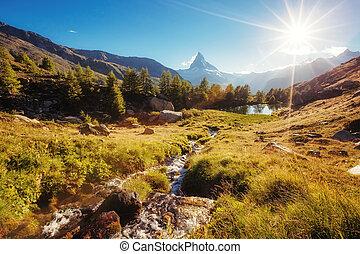 scénique, environs, à, célèbre, pic, matterhorn., emplacement, endroit, alpes suisses, grindjisee.