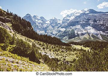 scénique, environs, près, les, lac, oeschinensee., emplacement, alpes suisses, kandersteg.