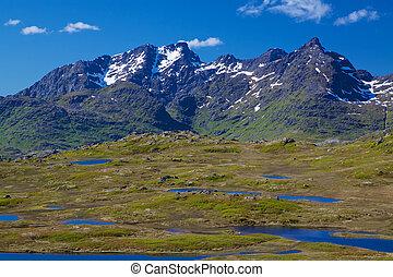 scénique, montagnes, dans, norvège