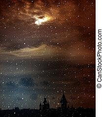 scénique, nuageux, lune, Spooky, mystérieux, crépuscule,...