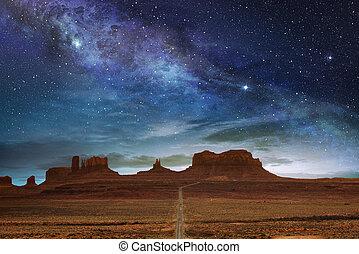 scénique, parcours, à, les, vallée monument, sous, a, nuit, ciel étoilé