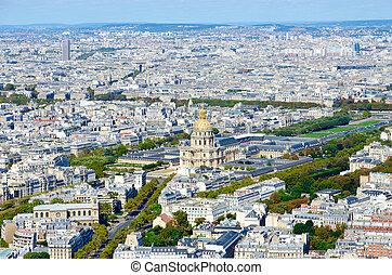 scénique, paris, france, les, au-dessus, cathédrale, invalides, vue