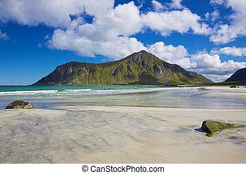 scénique, plage, dans, norvège