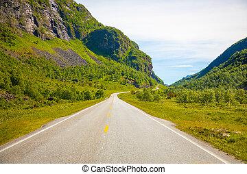 scénique, route montagne, dans, norvège, dans, été