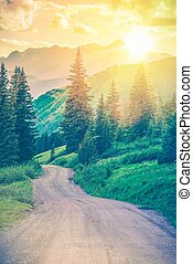 scénique, route, montagne
