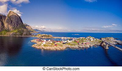 scénique, village, dans, norvège