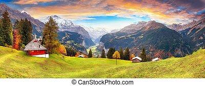 scénique, village, vue, pittoresque, vallée, automne, lauterbrunnen, alpin, wengen