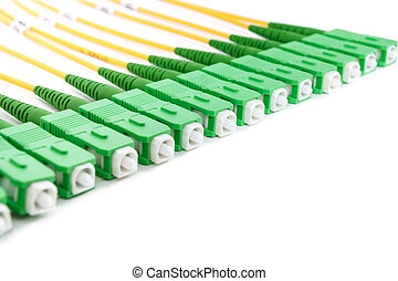 sc, connecteurs, fibre, vert, optique