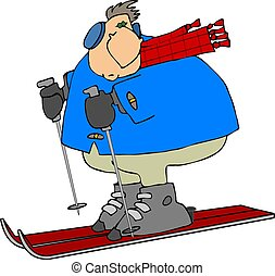 sc, czerwony, skiier