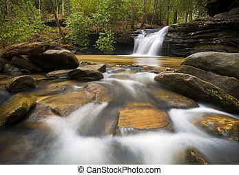 sc, vattenfall, landskap, fotografi, blåa ås fjäll, avkopplande, natur, avbild, med, fredlig, att flöda bevattnar