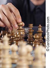 scacchi, gioco, uomo affari
