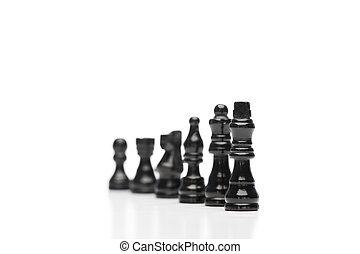 scacchi, nero, pezzi