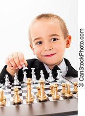 scacchi, poco, capretto, gioco, apertura