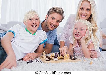 scacchi, sorridente, gioco insieme, famiglia