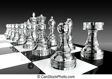scacchi, vetro, pezzi