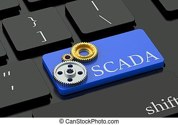 SCADA concept on blue keyboard button