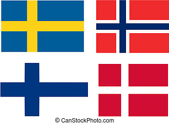 scadinavia, drapeaux