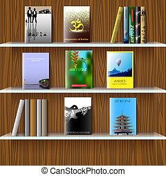 scaffale, con, libri