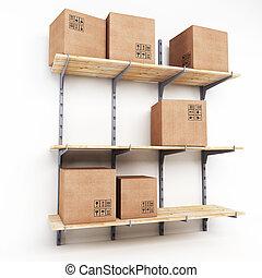 scaffale, con, scatole cartone