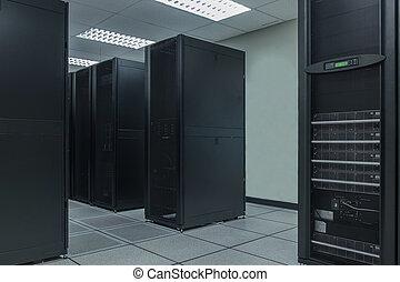 scaffale, fila, dati, centro,  server