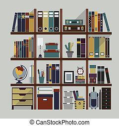 scaffale, libri, oggetti