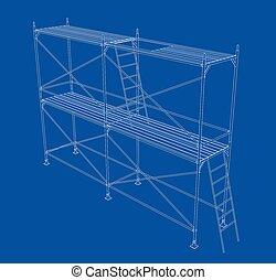scaffold., アウトライン, イラスト, 3d