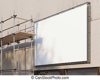 scaffold., 金属, レンダリング, ブランク, 広告板, 白, 3d
