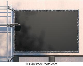 scaffold., 金属, レンダリング, 黒, 広告板, 白, 3d