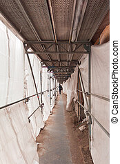 Scaffold at a construction area subway