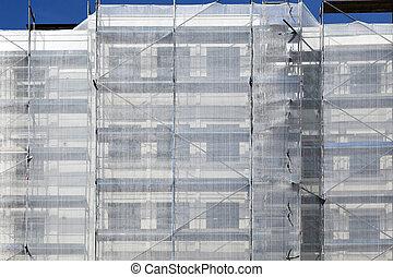 scaffold at a house facade