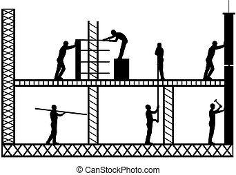 Scaffold - Illustration of team workers working on scaffold