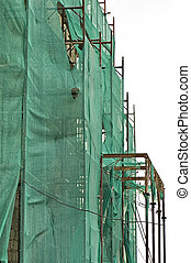 scaffold netting - Abandoned 19th century mansion renovation...