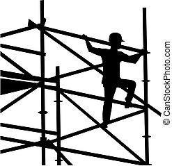 scaffolder, cadre, silhouette