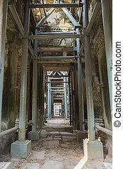 scaffolder, intérieur, cambodge, prohm, thom, temple, angkor...