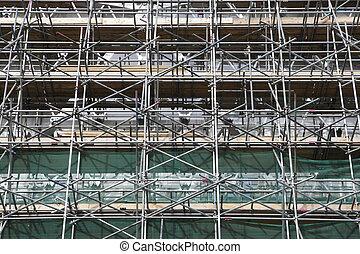 scaffolding along baker street london england uk taken in...