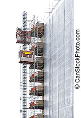 Scaffolding and elevator