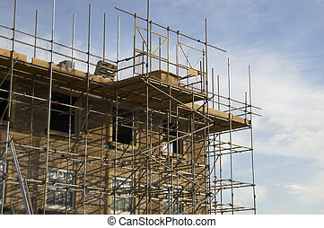 Scaffolding around a new home in England