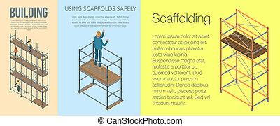 Scaffolding banner set, isometric style