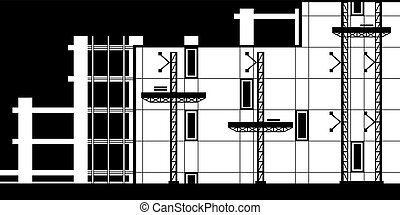 Scaffolding for installation of curtain wall of building - vector illustration