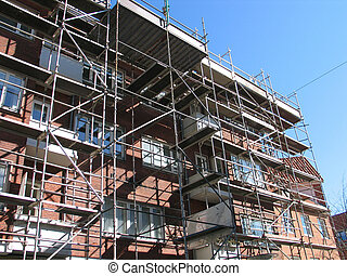 Scaffolding in a construction site