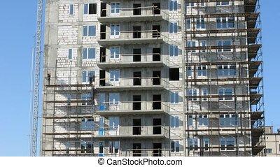 scaffolding., maison, constructeurs, bâtiment, construire