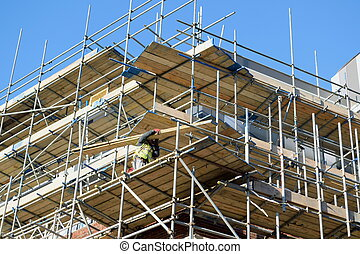Scaffolding on a building - Large scaffolding on a building...