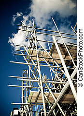 scaffolding on a building site - scaffolding construction ...