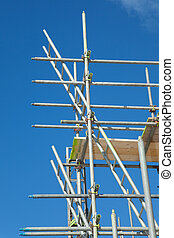 scaffolding on a building site - scaffolding construction...