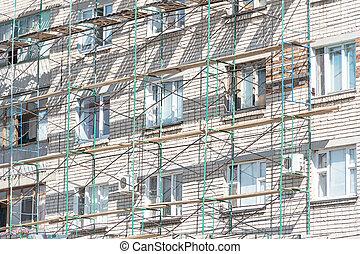 Scaffolding on the facade of house
