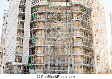 Scaffolding on the roof of the cathedral of Milan Duomo.
